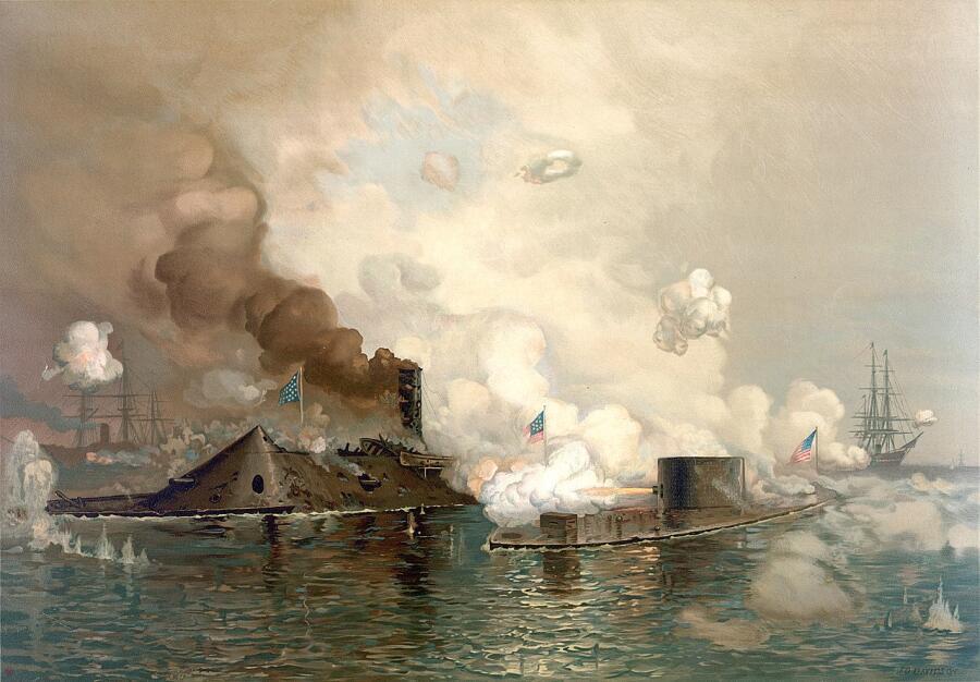 Рисунок с изображением первой в истории битвы между броненосными кораблями - «Монитором» и «Вирджинией» во время Гражданской войны в США