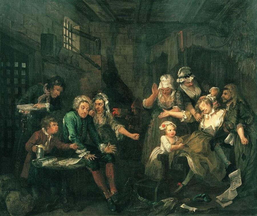 Уильям Хогарт, «Карьера мота. Тюрьма», 1733 г.