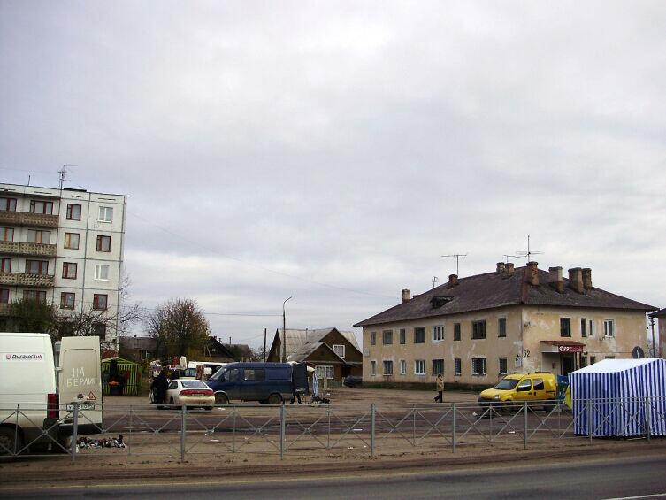 Стихийный рынок в центре Пустошки