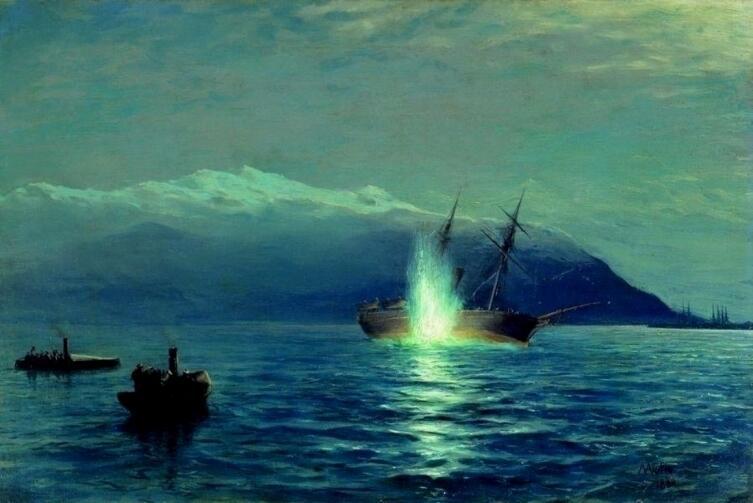 """Л. Ф. Лагорио «Потопление катерами парохода """"Великий князь Константин"""" турецкого парохода """"Интибах"""" на Батумском рейде в ночь на 14 января 1878 г.»"""