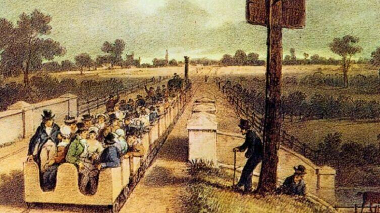 Открытие в 1830 году ранней Железной дороги Ливерпуль — Манчестер, по которой тогда же была осуществлена первая в мире перевозка железнодорожной почты