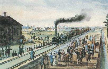Царскосельская железная дорога. Раскрашенная литография, 1837 г.