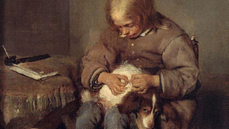 Герард Терборх (тер Борх), «Мальчик ищет блох у своей собаки (Ловец блох)» (фрагмент), 1655 г.