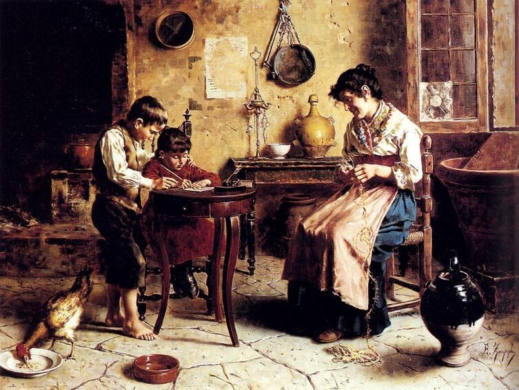 Эухенио Зампигхи, «Дети и рукодельница-мать»