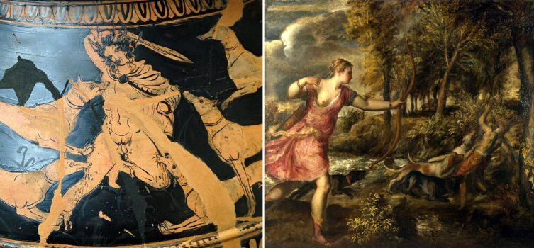 Интересно, что художники и скульпторы, как правило, не изображали полное превращение Актеона. Обычно они ограничивались только рогами или оленьей головой. Некоторыеже и вовсе оставляли Актеона в человеческом облике. Слева— рисунок Долона на античной вазе. Справа— картина Тициана