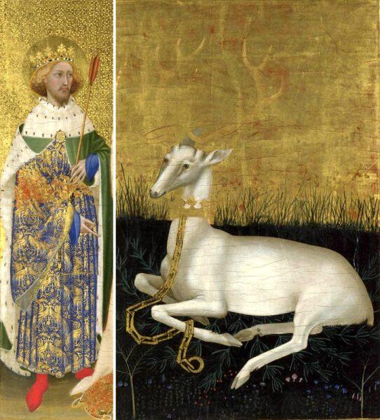 Оленя на створках диптиха Уилтона (1395) можно увидеть, как отдельно, так и на одежде РичардаII