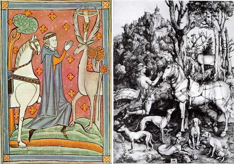 Видение св. Евстафия (Юстаса) на рисунке из английской рукописи XIII века и гравюре Альбрехта Дюрера, ок. 1501г.