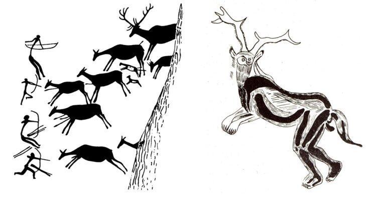 Слева— пещерный рисунок из Вальторты (Восточная Испания). Справа— «колдун». Эскиз Анри Брёйля