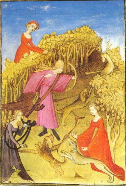Из поэмы раннего Средневековья: «Она прекрасна и добра, / И великолепен её конь. / Собаки чуют кровь оленей, / И рога звук её зовет…»