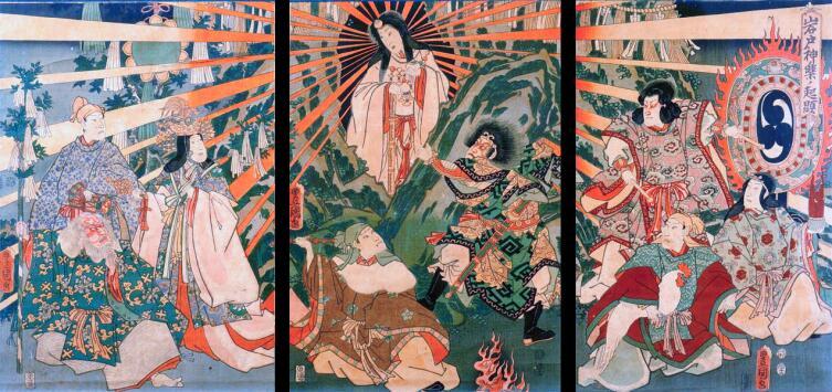 Японская Богиня Солнца Аматэрасу, выходящая из пещеры