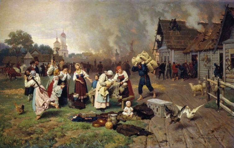 Н. Д. Дмитриев-Оренбургский, «Пожар в деревне»