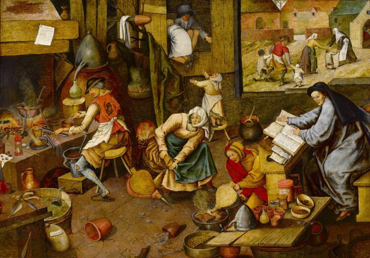 Питер Брейгель Младший, «Деревенский алхимик», 1600 г.
