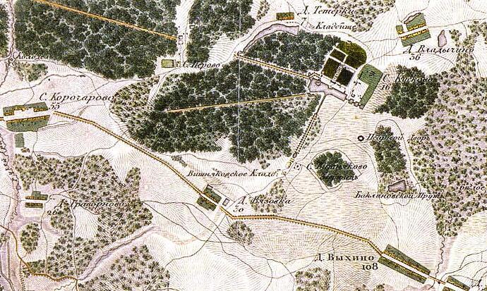 Карта окрестностей Перово 1823 г.