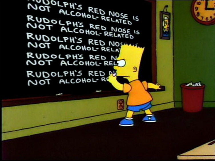 В одной из серий мультсериала «Симсоны» (сезон 9, эпизод 10) Барт пишет на доске фразу «Красный нос оленя Рудольфа никак не связан с алкоголем»