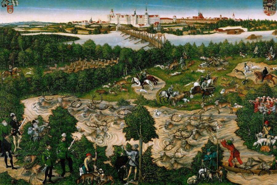 Лукас Кранах Младший, «Охота на оленя курфюста Иоганна Фридриха», 1544 г.