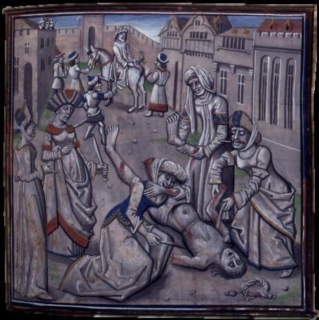 Миниатюра, изображающая унижение и убийство Андроника