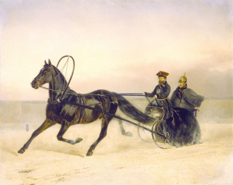 Н. Е. Сверчков, «Николай I в санях», 1853 г.