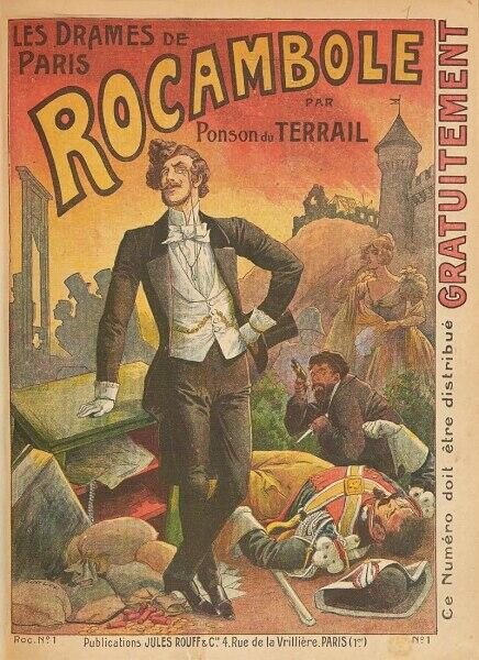 Обложка романа «Парижские драмы», автор Понсон дю Террайль, 1884 г.