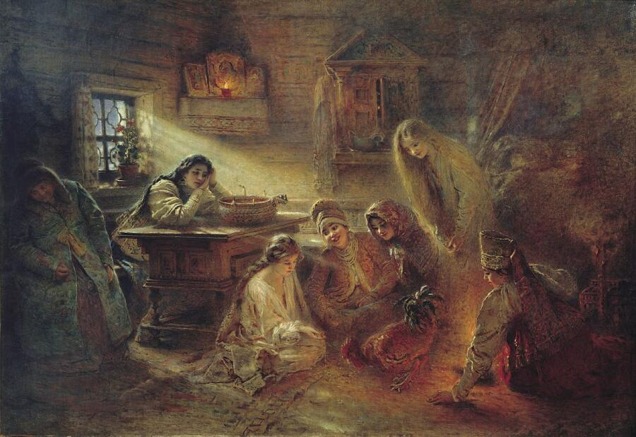 К. Е. Маковский, «Святочные гадания», 1900-е гг.