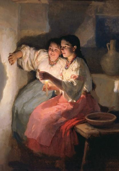 Н. К. Пимоненко, «Святочное гадание», 1888 г.