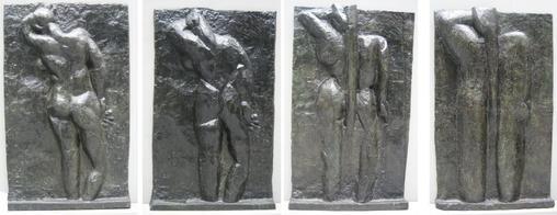 Анри Матисс, серия «Спина» , бронза, слева направо: «Спина I», 1908–09 гг., «Спина II», 1913 г., «Спина III», 1916 г., «Спина IV», 1931 г., Музей современного искусства , Нью- Йорк