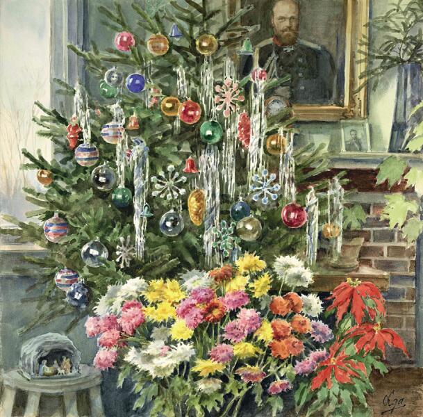 О. А. Романова, «Рождество Христово у великой княгини Ольги Александровны с портретом Александра III», 1950 г.