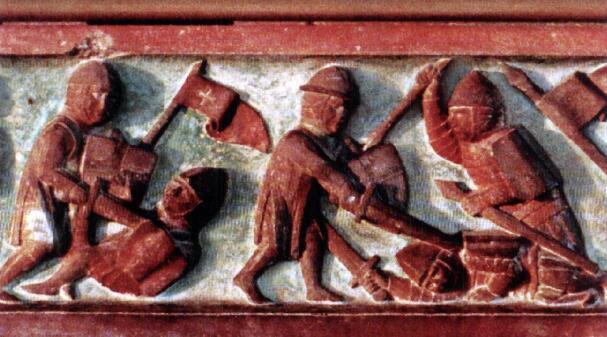 Литовцы сражаются с тевтонскими рыцарями. Барельеф замка Мариенбург, середина XIV столетия