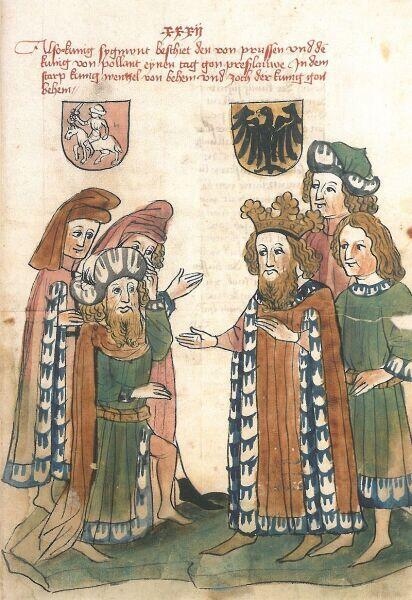 Император Сигизмунд выступает посредником между Ягайло и Тевтонким орденом. Иллюстрация 1443 года