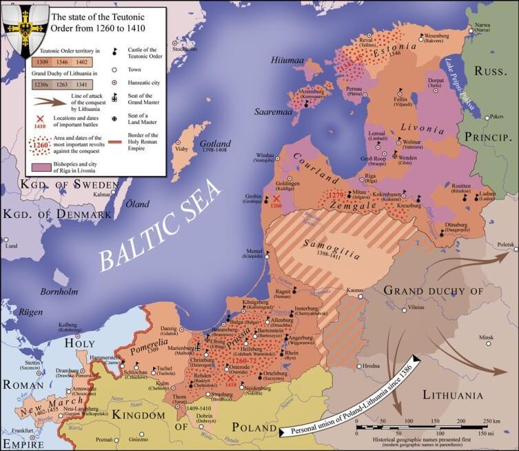 Территория государства Тевтонского ордена в период между 1260 и 1410 годами; места и даты важнейших битв, включая Грюнвальдскую, обозначены красными скрещёнными мечами