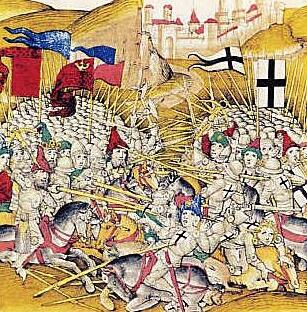 Битва при Грюнвальде. Миниатюра из «Бернской хроники» Диболда Шиллинга Старшего, 1483 г.