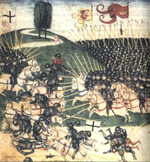 Битва при Грюнвальде. Миниатюра из «Люцернской хроники» Диболда Шиллинга Младшего, 1513 г.