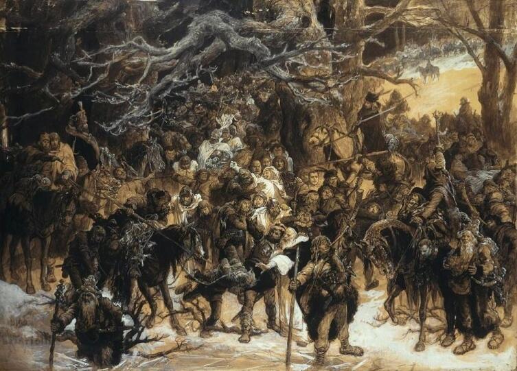 Михал Эльвиро Андриолли, «Возвращение литовцев», 1892 г.