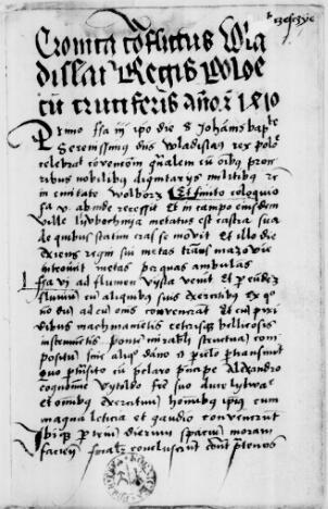 Наиболее важным источником о Грюнвальдской битве является «Хроника конфликта Владислава, короля Польши, с крестоносцами в год Христов 1410»