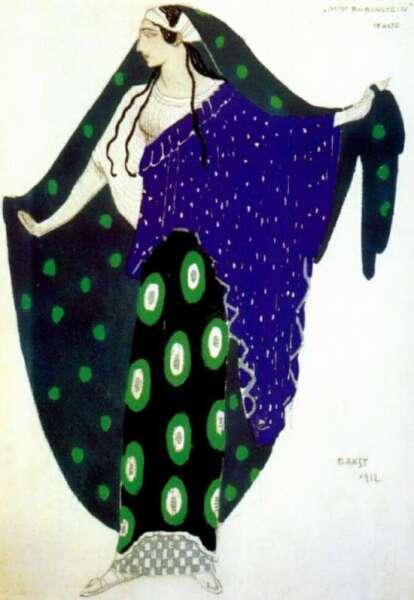 Леон Бакст. Костюм для Иды Рубинштейн в роли Елены Спартанской, 1912 г.