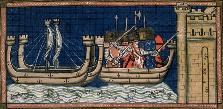 Прибытие крестоносцев в Дамиетту в 1249 г. Миниатюра из «Хроник Сен-Дени»