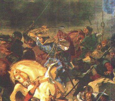 Людовик IX Святой в сражении (фрагмент картины Э. Делакруа, 1837 г.)