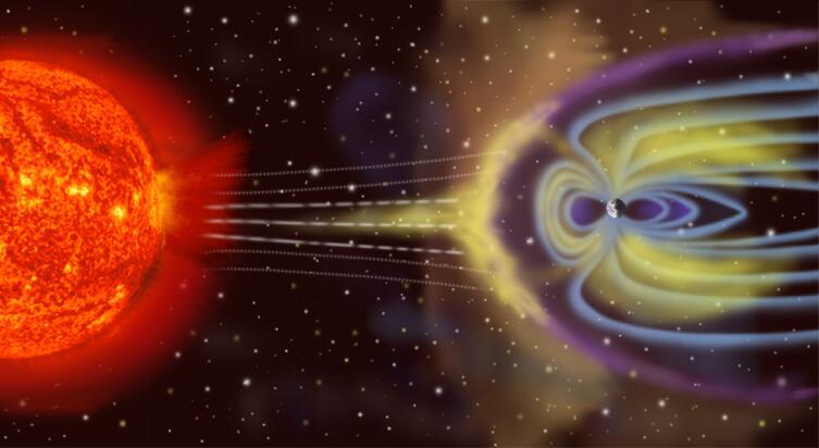 Деформация магнитосферы планеты звёздным ветром