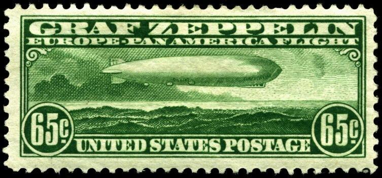 Марка США «Цеппелин» номиналом в 65 центов — одна из трёх, выпущенных специально к панамериканскому перелёту «Графа Цеппелина» в мае-июне 1930 года