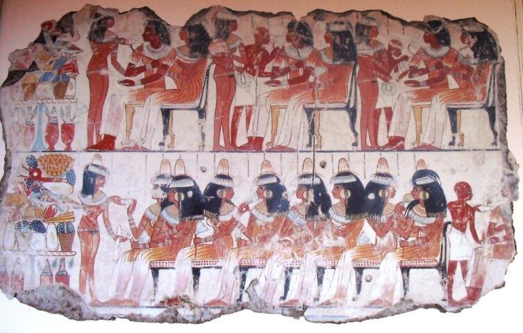 Пир. Фрагмент фрески из гробницы Небамона, ок. 1400 год до н. э. Британский музей
