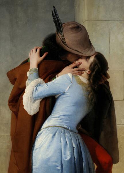 Франческо Айец, «Поцелуй» (фрагмент), 1859 г.