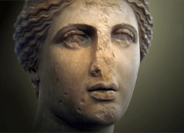 «Голова Афродиты» — копия скульптуры Праксителя. Национальный археологический музей (Афины)