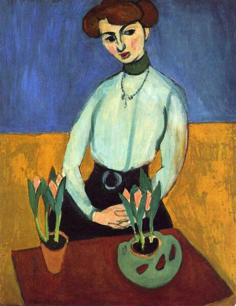 Анри Матисс, «Девушка с тюльпанами», 1910 г.