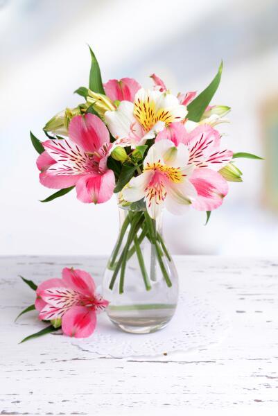 Альстромерия, цветы в вазе