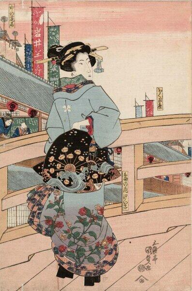 Утагава Кунисада, «Гейша из Симаноути», 1820-е гг.