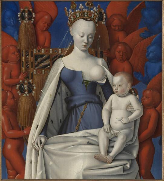 Жан Фуке изобазил Агнессу Сорель - фаворитку короля Франции Карла VII - в образе Мадонны
