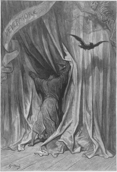 Иллюстрация Гюстава Доре к стихотворению Э. По «Ворон»