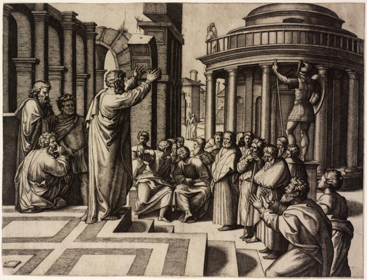 Маркантонио Раймонди, «Апостол Павел проповедует в Афинах», 1520 г.