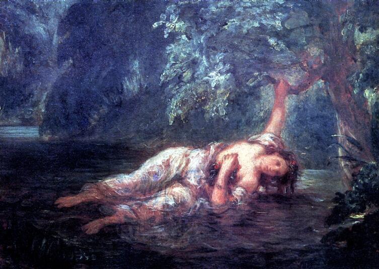 Эжен Делакруа, «Смерть Офелии», 1853 г.