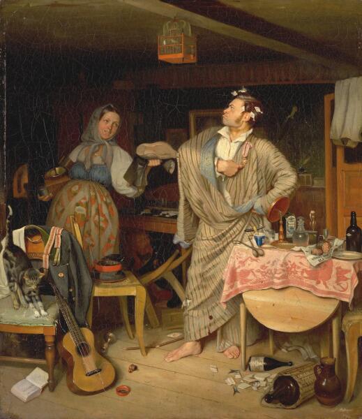 П. А. Федотов, «Свежий кавалер (Утро чиновника, получившего первый крестик)», 1846 г.