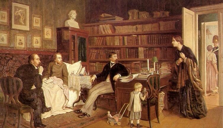 А. А. Наумов, «Белинский перед смертью (Некрасов и Панаев у больного Белинского)», 1883 г.